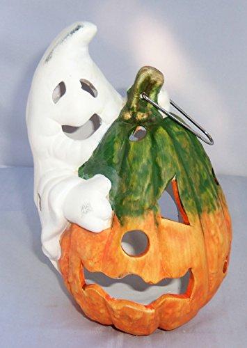 Halloween Ceramic Clay Tealight Holder Lantern Ghost & Pumpkin 8