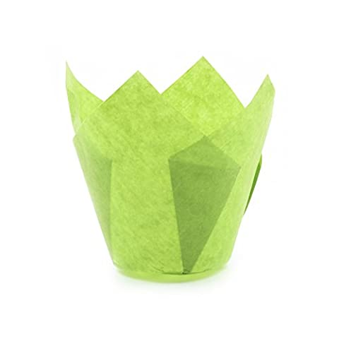 Tulip Cupcake Liner Green Paper Baking Cups easy Release Muffin cup / No need To Spray Cup Perfect for Baking Muffins and Cupcakes,Extra Large Size: Tip H 2 -23 / 64