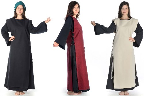 XL schwarz Skapulier Mittelalter Damen mit mit HEMAD Braun S Schwarz Baumwolle Damenkleid Kleid Leinenstruktur xqfTtRw0