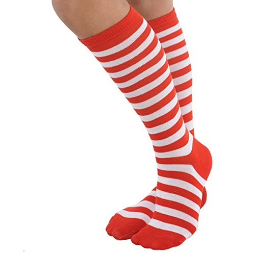 Red/White Striped Socks | Goofy and Fun Costume | -