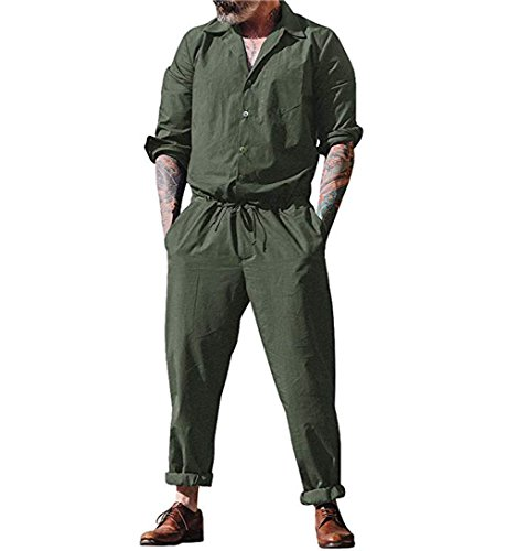 lisenraIn Men's Long Sleeve Rompers One Piece Jumpsuit Plain Coverall with Pockets (Army Green, ()