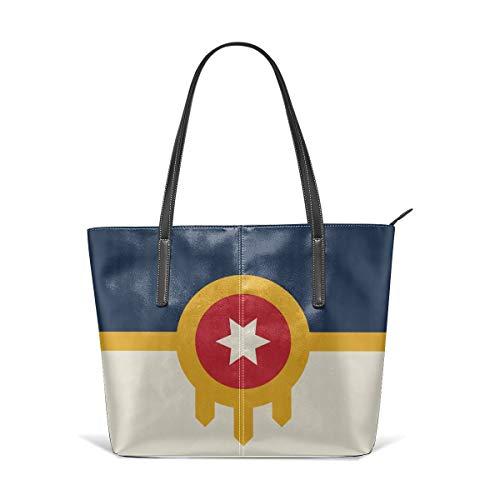 Tulsa Flag Women's Soft Leather Tote Shoulder Bag Cute Large Handbag