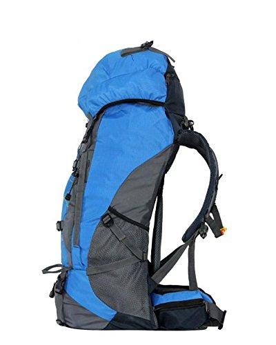 YYY-Un nuevo día al aire libre Mochila viaje impermeable montañismo bolso hombres y mujeres deportes bandolera capacidad 55L , blue Blue
