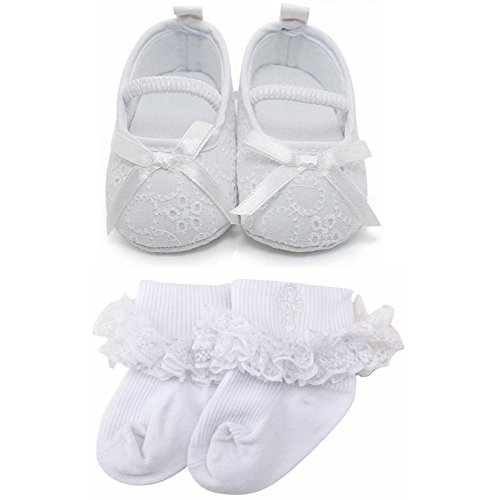 Delebao Baby Girl Infant Satin Mary Jane Baptism Shoes Dance Ballerina Slippers (6-9 Months, Shoes & Socks)