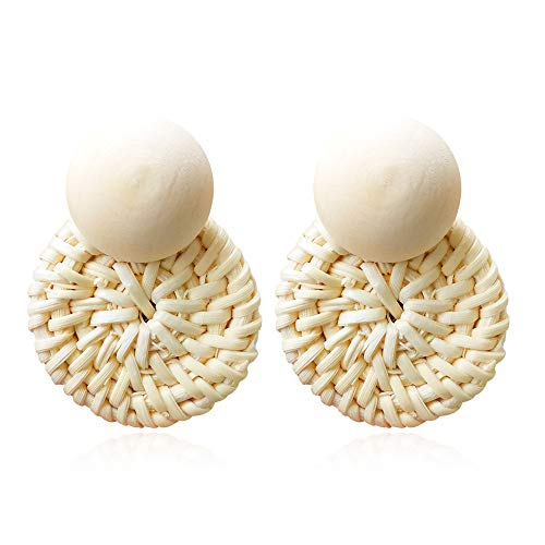 (Woven Rattan Resin Earrings for Women Handmade Straw Knit Wicker Raffia Braid Drop Dangle Statement Earrings (Ball-4))