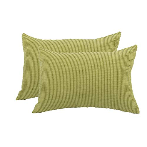 PICCOCASA Pack of 2 Decorative Pillowcase Covers with Zipper Fall Super Soft Corduroy Striped Throw Pillow Case Cushion Cover Sets for Sofa Couch Bed, Green Yellow 12