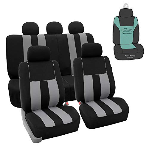FH Group Striking Striped Flat Cloth Full Set Car Seat Covers Set, Airbag & Split Ready w. Gift, Gray/Black - Fit Most Car, Truck, SUV, or Van
