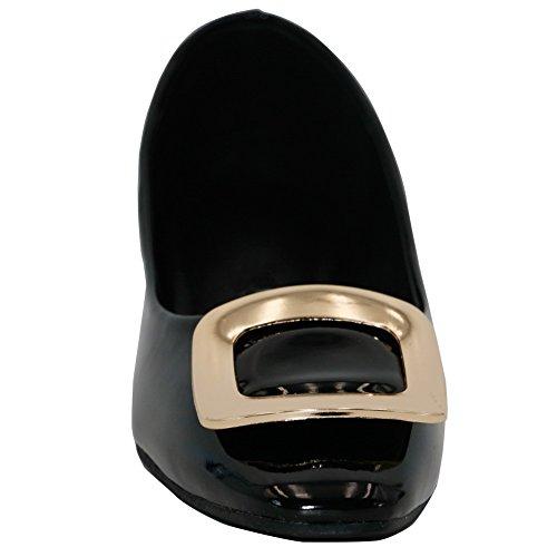 AalarDom Mujer Sin cordones Material Suave Sólido De salón Negro-Metal