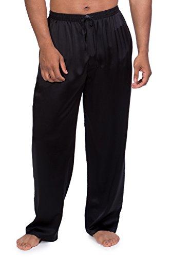 Men's Luxury Silk Pajama Pants (Hiruko, Black, Medium) Unique Birthday Anniversary Presents for Guys MS0201-BLK-M