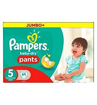 Pampers Baby-Dry Tamaño De Los Pantalones De La Caja 5 Jumbo 64 Pañales (