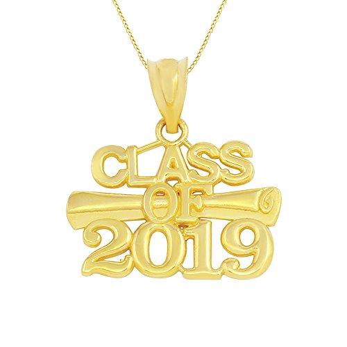 10k Yellow Gold Diploma Charm Class of 2019 Graduation Pendant Necklace, 18