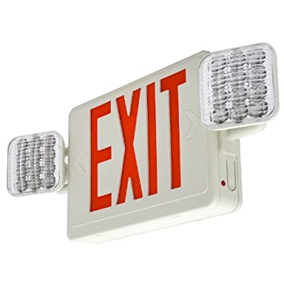 LFI Lights - 2 Pack - Hardwired Red LED Combo Exit Sign Emergency Light - COMBOR2x2
