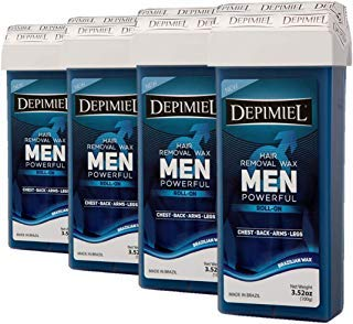 Men Formula with Azulene Roll On Wax Cartridge System Hair Removal - Depilatory Roller for Body (Legs & Arms) Waxing 3.52 Oz (4 Pack)