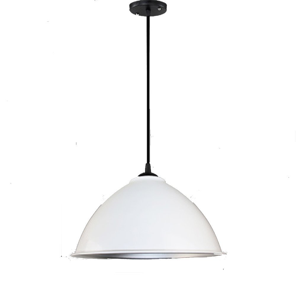 Simple chandelier, industrial style, creative personality, modern industrial and mining lamp cover bar, single head restaurant, hairdressing shop, office lamp (Color : White)