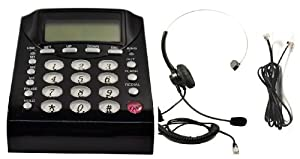 Work From Home Office Telephone Call Center Dial Key Pad Phone + Headset Headphone with Mute Volume Control by WirelessFinest