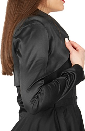 Formal Negro Manga Larga Bolero Satén BlackButterfly dZSapd