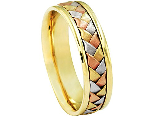 Men's Tri-color 14k White Yellow Rose Gold Woven 6mm Comfort Fit Wedding Band Ring size 9.75 975 Wedding Bands Ring