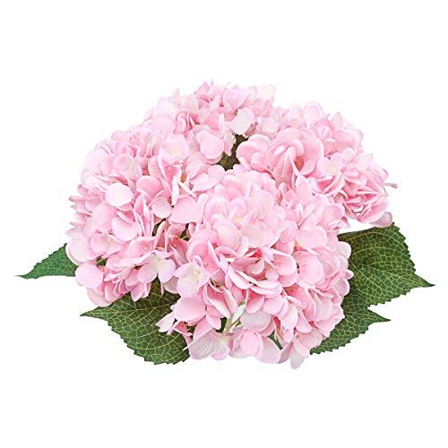 Bomarolan Artificial Hydrangea Silk Flowersy Real Touch Fake Bouquet for Wedding,Birthday Party,Home Décor 3 Pcs(Pink)