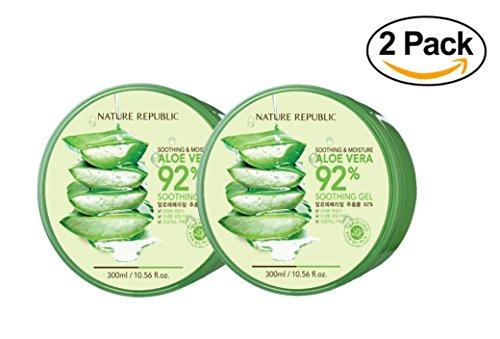 Nature Republic New Soothing & Moisture Aloe Vera 92% Gel, 10.56 Fl Oz (2 Pack)