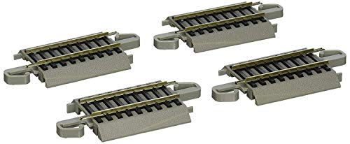 Bachmann Trains - Snap-Fit E-Z TRACK 2.25 STRAIGHT TRACK (4/card) - NICKEL SILVER Rail With Gray Roadbed - HO Scale
