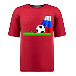 Custom Mens Cotton Short Sleeve Round Neck T-shirt,2014 Brazil FIFA World Cup Soccer Russia red