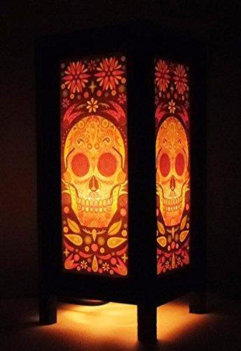 Thai Vintage Handmade Asian Oriental Fantasy Skull Bedside Table Light or Floor Wood Paper Lamp Shades Home Bedroom Garden Decor Modern Design from Thailand. beautiful by Vintage