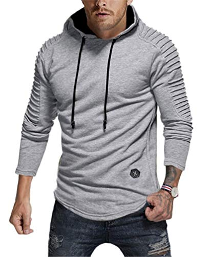 (Nicetage Mens Lightweight Ruched Long Sleeve Hoodie T-Shirts Slim Hooded Pullover Tops Sweatshirt (HS80-Man Light Gray S))