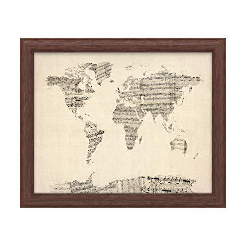 Trademark Fine Art Old Sheet Music World Map by Michael Tompsett, Wood Frame 16x20, Multi-Color