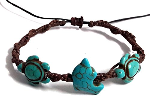 Bracelet Dolphin Sea Turtle in Turquoise Hemp Bracelet Hawaiian For Mens womens Teens (Belly Dance Costumes For Teenagers)