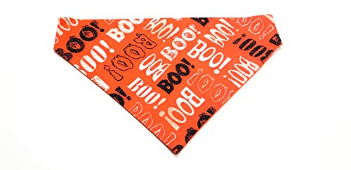 BOO! Pumpkin - Orange Halloween Print Dog Bandana Kerchief No-Tie Design by Barking Bad Bakery and Boutique