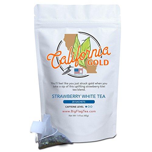 Strawberry White Tea - California Gold, White Tea, Low Caffeine, 20 Full-Leaf Sachets