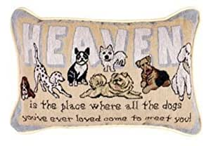 Heaven Is The Place Dogs Decorative Tapestry Toss Pillow