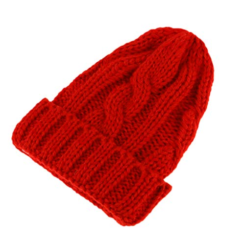 Prettyia 1/6 Adorable Woolen Knitted Beanie Hat Ski Cap Garment for Blythe Doll Fashion Girl Doll Winter Christmas Outfits - Blood Red, 10cm