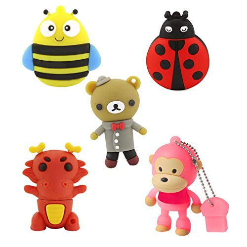 5 Pack 32GB USB 2.0 Flash Drives Bulk Cute Animal Shape Pendrives Thumb Drives Memory Sticks Jump Drive Novelty Gifts(Bee,Ladybug,Bear,Dragon,Monkey,5PCS)