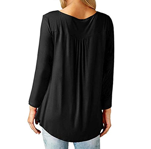 Sleeve Chemisier Button Long Blouse Femmes CCasual Tops Blouse Tunique Pliss Noir Innerternet Tops Shirt Up Loose Lache qYB100z