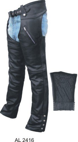 Men's Premium Buffalo Leather Motorcycle Chaps w 2 Zippered Pockets and zip out lining n mesh lining