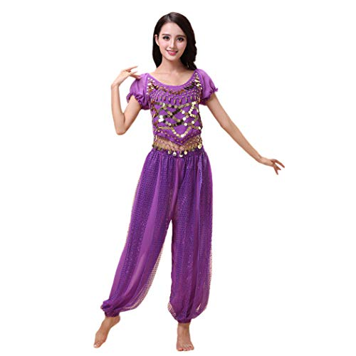 Maylong Women's Harem Pants Belly Dancing Outfit Halloween Costume (Purple)