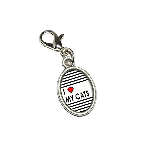 (Graphics and More I Love Heart My Cats Antiqued Bracelet Pendant Zipper Pull Oval Charm with Lobster Clasp)