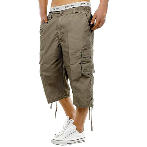 iLXHD Mens Cargo Shorts Elasticated Waist Cotton Cargo Combat 3/4 Long Knee Length Shorts Pants Brown