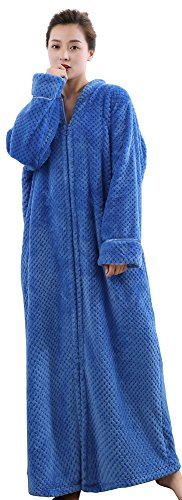 Foucome Womens Fleece Robe Long Soft Zip-Front Bathrobe with Two Side Pockets Blue M/Label XL