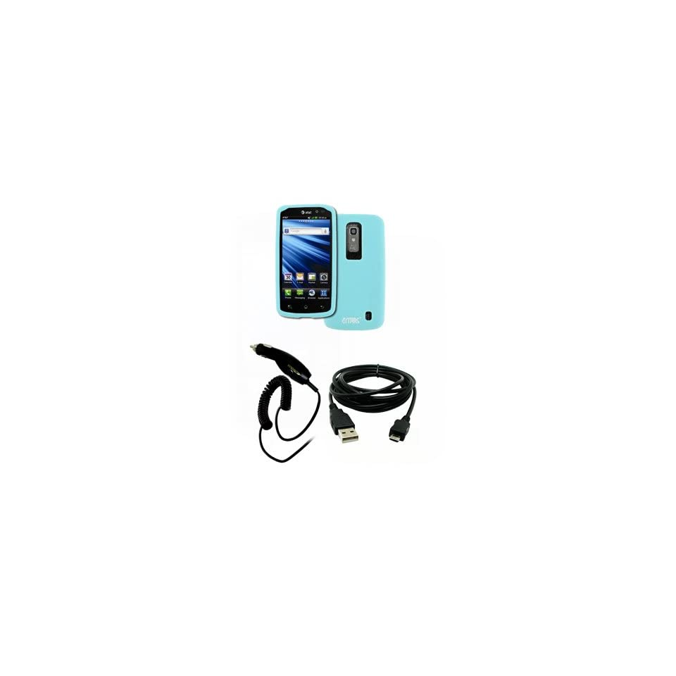 EMPIRE LG Nitro HD Light Blue Silicone Skin Case Cover + Car Charger (CLA) + USB Data Cable [EMPIRE Packaging]