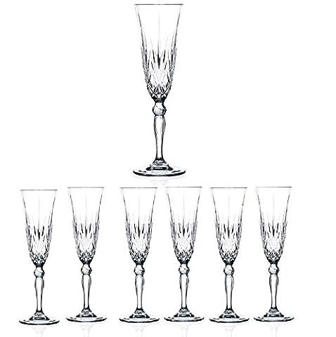 Elegant Crystal Champagne Toasting Flutes, Sparkling Design, Set of 6 Glasses,Ideal for Marriage Proposal, Wedding\Party Essentials.