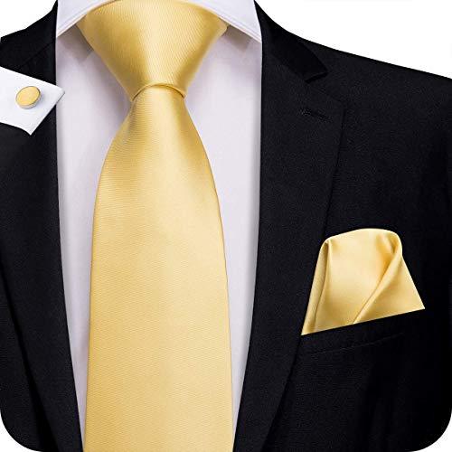 (Hi-Tie Men Yellow Gold Solid Tie Pocket Square Cufflinks Set Pure Color Necktie Wedding Ties Gift Box)