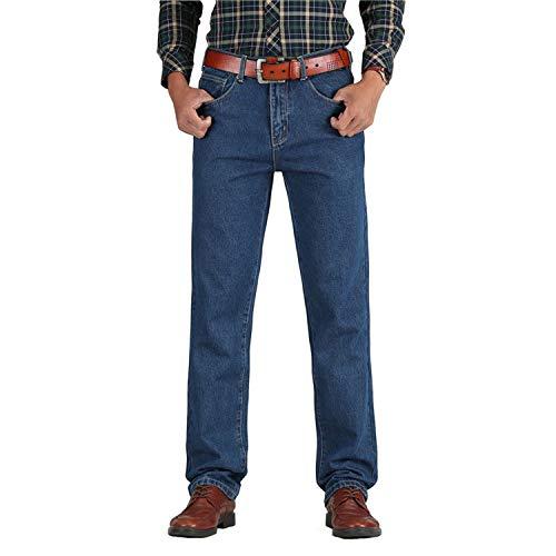 2019 Men Cotton Straight Classic Jeans Spring Autumn Male Denim Pants Overalls Designer Men Jeans,Dark Blue,42