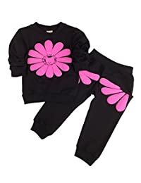 SimpleFun Baby Girl 2pcs Flower Clothing Sets Top and Pants Outfits Fall Clothes