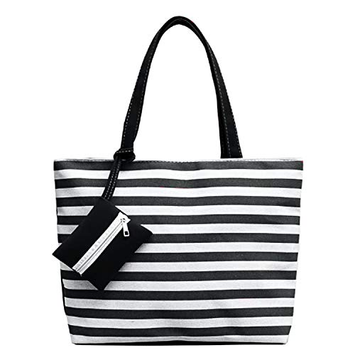 FashionBoutique Heavy Duty Cotton Canvas Reusable Shopping Tote Bag or Daily Use Bag with Beautiful Pattern (Black Stripe(Extra Coin Purse) - Zip - Pattern Canvas Tote Bag
