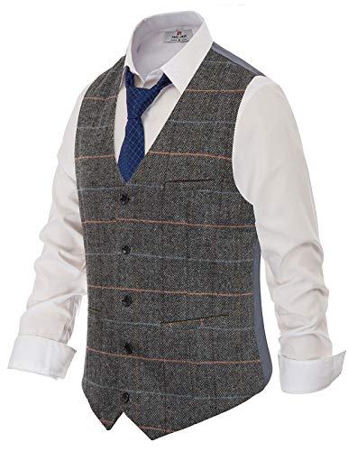 Men's Slim Fit Herringbone Tweed Suits Vest Premium Wool Blend Waistcoat L Grey