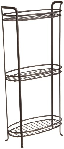 InterDesign Axis Free Standing Bathroom Storage Shelves for Towels, Soap, Candles, Tissues, Lotion, Accessories - 3 Tiers, XL, Bronze