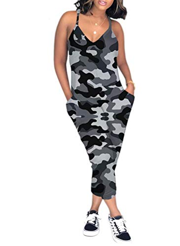 ThusFar Womens Jumpsuits V Neck Strappy One Piece Rompers with Pocket Gray M