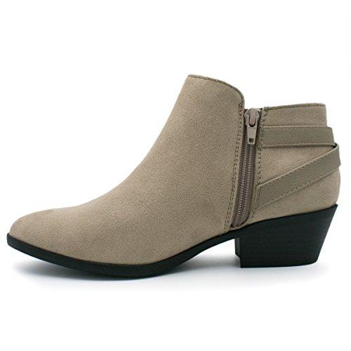 Soda Damen Runde Kappe Faux Wildleder Stacked Heel Western Ankle Bootie, Ton, 85 M US Neuer Ton *